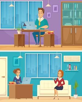 Banners de desenhos animados de trabalhador de escritório 2