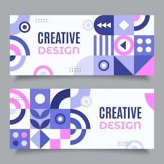 Banners de design criativo em mosaico plano
