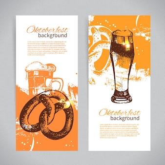 Banners de design de cerveja oktoberfest. ilustrações desenhadas à mão. planos de fundo do splash blob
