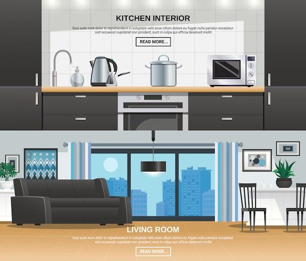 Banners de design de interiores de cozinha moderna