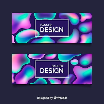 Banners de design líquido abstrato