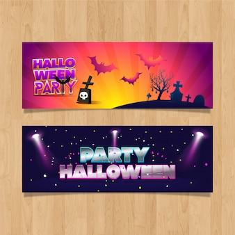 Banners de design luzes de festa de halloween