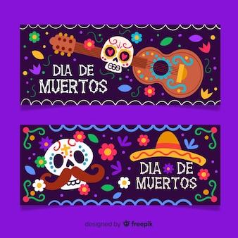 Banners de design plano dia de muertos