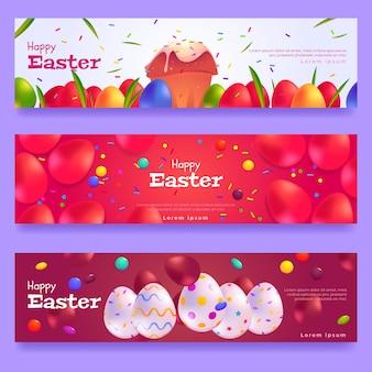 Banners de design plano para o dia de páscoa