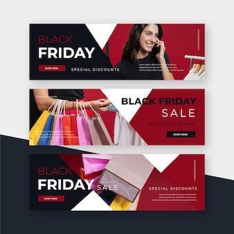 Banners de design plano preto sexta-feira com foto