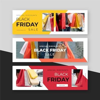 Banners de design plano preto sexta-feira com imagem