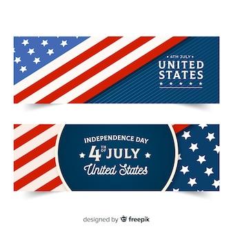 Banners de dia da independência plana