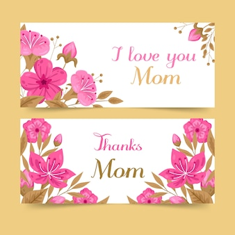 Banners de dia das mães de design plano