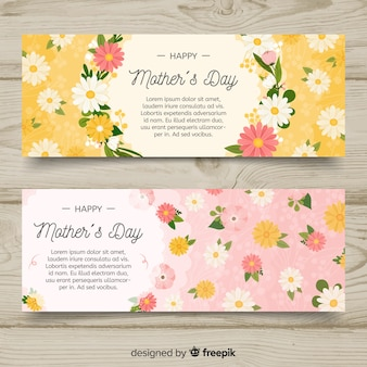 Banners de dia das mães de mão desenhada