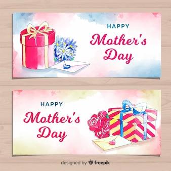 Banners de dia das mães em aquarela