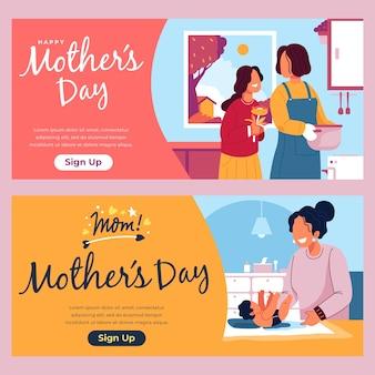 Banners de dia das mães plana