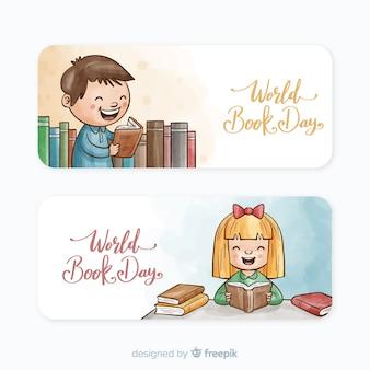 Banners de dia de livro mundo aquarela