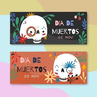 Banners de dia de muertos desenhados à mão