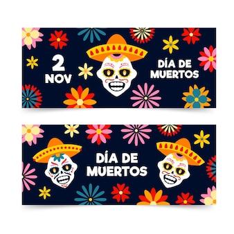 Banners de día de muertos desenhados à mão