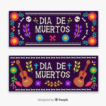 Banners de dia de muertos em design plano