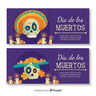 Banners de dia de muertos plana com caveira mexicana