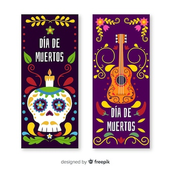 Banners de dia de muertos plana com guitarra e caveira