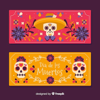 Banners de dia de muertos plana