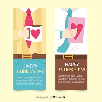 Banners de dia de pai de mão desenhada