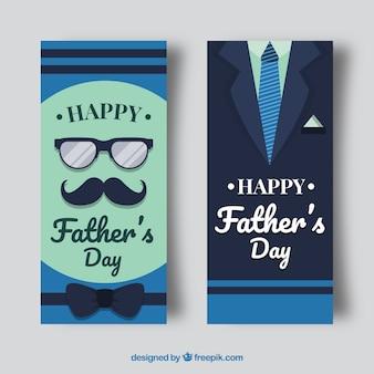 Banners de dia de pais azul com terno