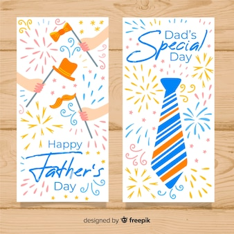 Banners de dia de pais de mão desenhada