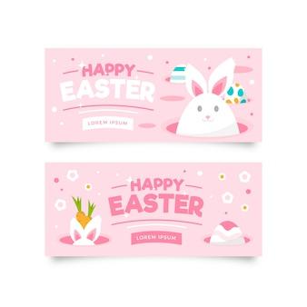 Banners de dia de páscoa plana com coelho