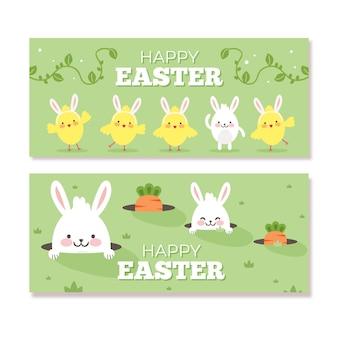 Banners de dia de páscoa plana com coelhos