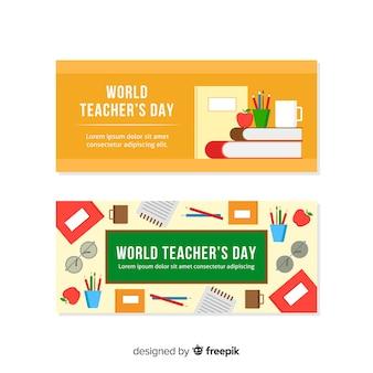 Banners de dia do professor wolrd com design plano