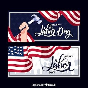 Banners de dia do trabalho plana eua