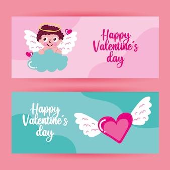 Banners de dia dos namorados com anjo e coração voador.