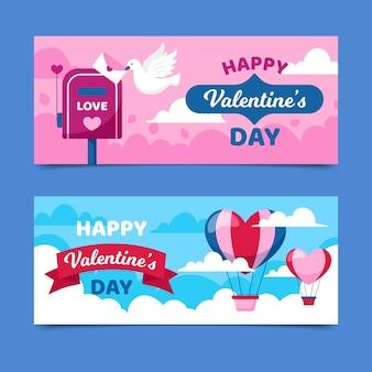 Banners de dia dos namorados com balões de ar quente