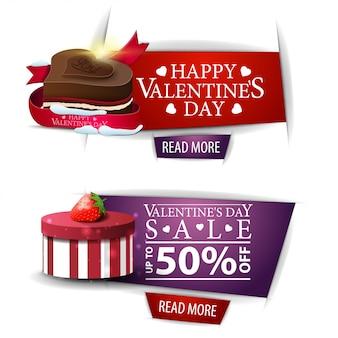Banners de dia dos namorados com botões, presentes e doces de chocolate