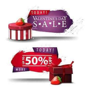 Banners de dia dos namorados com botões, presentes e morango