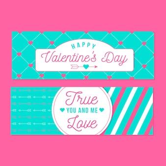 Banners de dia dos namorados com corações e flechas