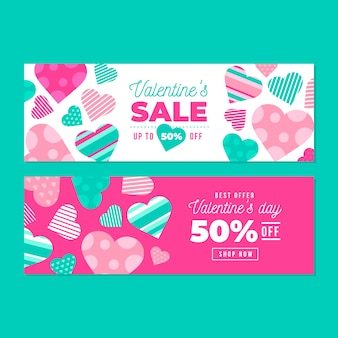 Banners de dia dos namorados com corações padrão