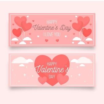 Banners de dia dos namorados com corações