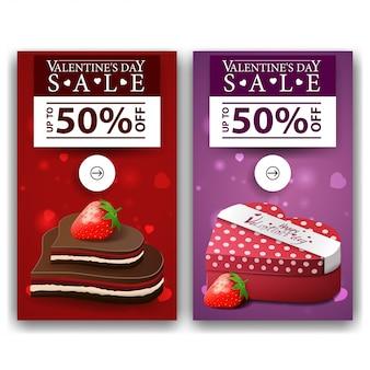 Banners de dia dos namorados com doces de chocolate e presente