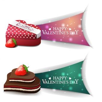 Banners de dia dos namorados com presentes e doces de chocolate