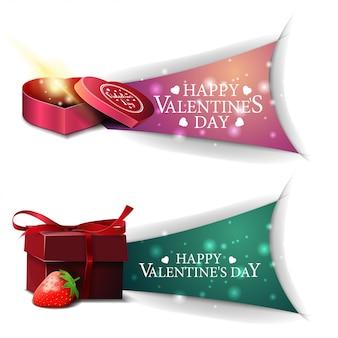 Banners de dia dos namorados com presentes e morango