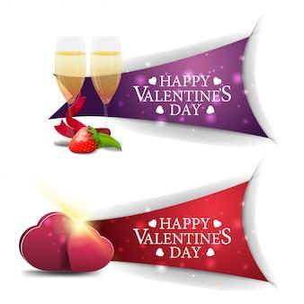 Banners de dia dos namorados com taças de champanhe e corações