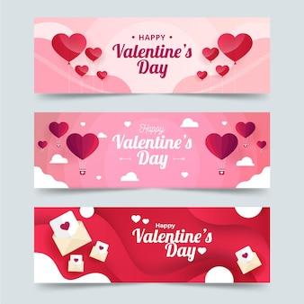 Banners de dia dos namorados de design plano