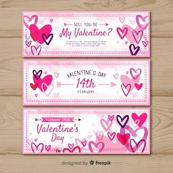 Banners de dia dos namorados de mão desenhada