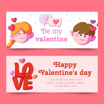 Banners de dia dos namorados em aquarela com avatares do jovem casal