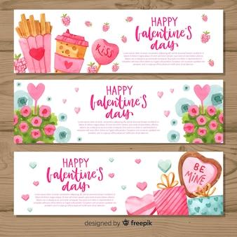 Banners de dia dos namorados em aquarela