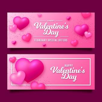 Banners de dia dos namorados em design plano