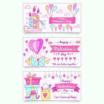 Banners de dia dos namorados mão estilo desenhado