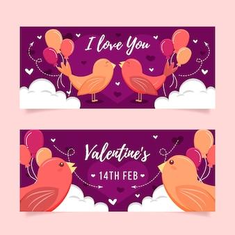 Banners de dia dos namorados plana