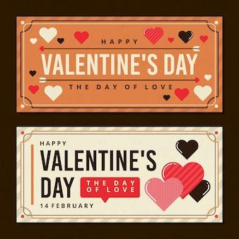 Banners de dia dos namorados vintage fofo