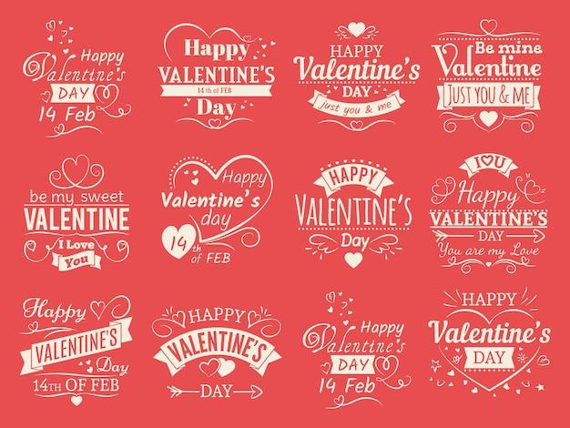 Banners de dia dos namorados vintage para cartão de amor - adoro emblemas tipográficas
