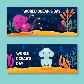 Banners de dia dos oceanos design plano